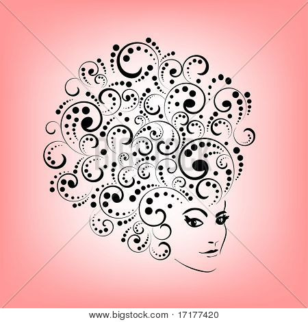 Stylized woman's face and hair (each coil  separate for editing )