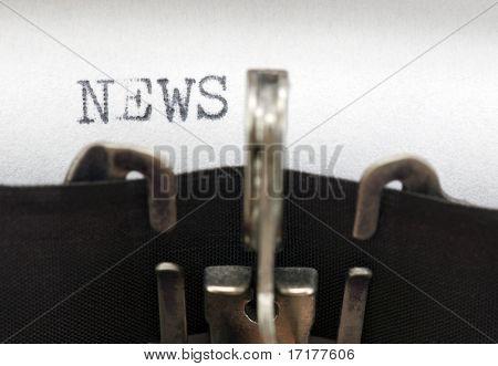 Typewriter closeup shot, concept of News