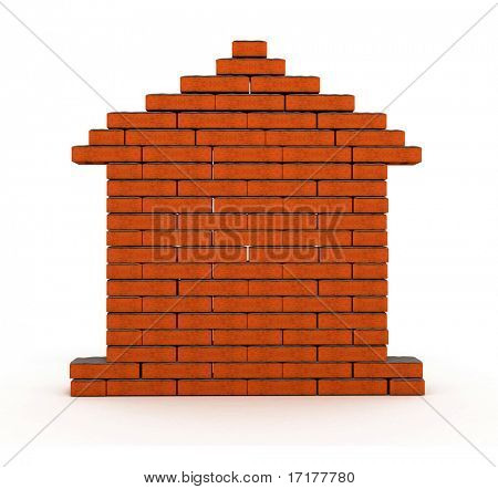 flat wall from a brick with cement 3d model