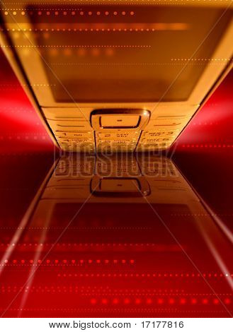 Business connections red background with phone reflection