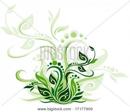 Green floral background vector illustration design for greeting cards