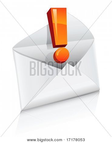 vector icon mail envelope with exclamation sign isolated
