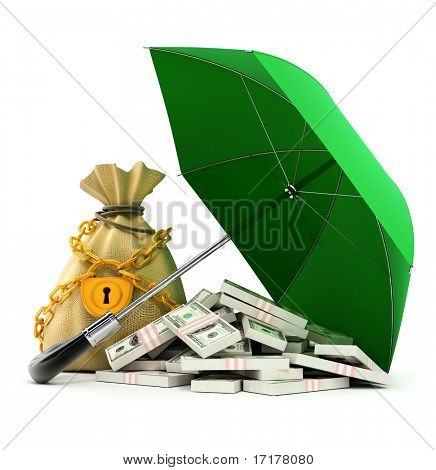 green umbrella protecting money from rain 3d illustration