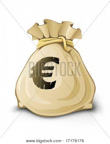 full sack with euro money vector illustration isolated on white background