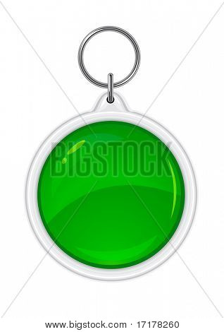 vector trinket souvenir with green circle silhouette isolated on white background
