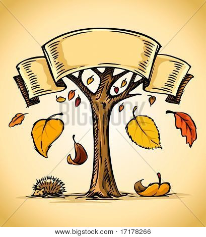 vector illustration of autumn tree with yellow falling leaves