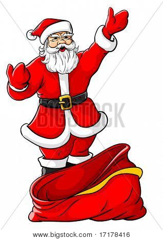 Vector illustration of Christmas Santa Claus with big empty sack for gifts (you can easily fill it as you want)