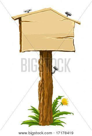 wooden blank sign illustrating real-estate theme: house for sale. Vector illustration