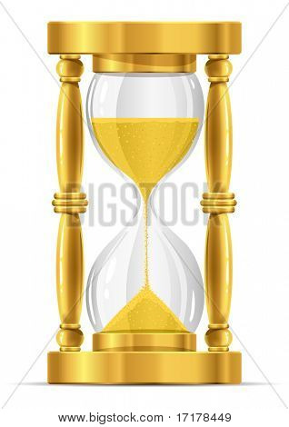 gold sand glass clock vector illustration isolated