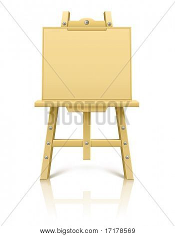 wooden art easel tool for drawing - vector illustration