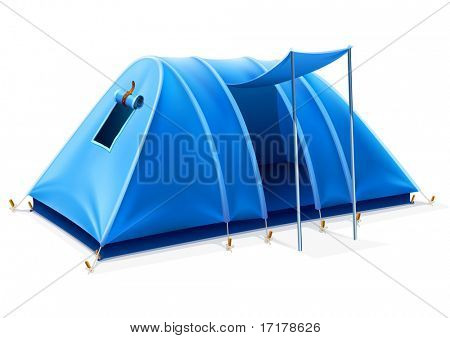 blue tourist tent with opened entrance for travel and camping - vector illustration