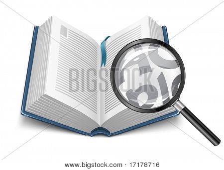 open book with magnifying glass - vector illustration