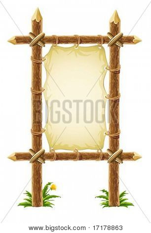 old leather sign on wooden stand - vector illustration, isolated on white background