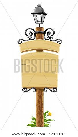 wooden post with signboard, lantern and forged decoration - vector illustration, isolated on white background