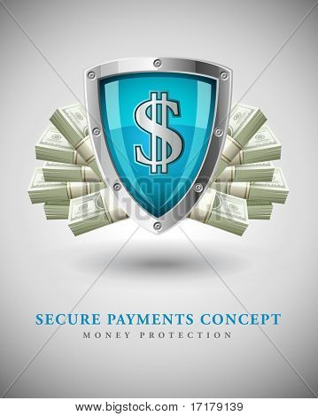 security shield protecting money business concept vector illustration