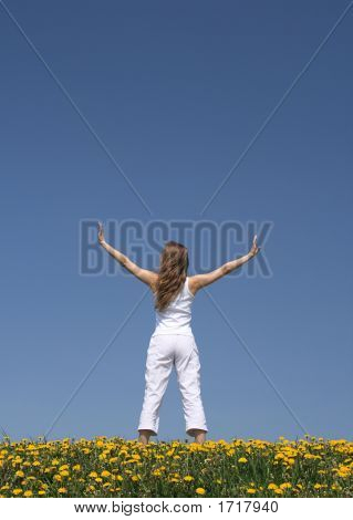 Young Woman Exercising In Dandelion Field