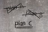 Crossing Out Plan A And Plan B And Writing Plan C poster