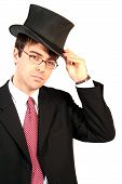 Business Man Lifting His Top Hat In Salutation And Welcome Of Ventures And Investments