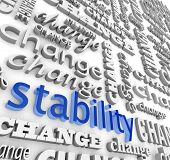 stock photo of safe haven  - The word Stability surrounded by many versions of the word Change - JPG