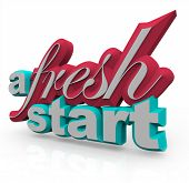 stock photo of start over  - The words A Fresh Start in 3D on a white background - JPG