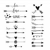 Handdrawn Arraws, Borders Set With Hearts, Crown, Wings, Love For Valentines Day And Wedding Greetin poster