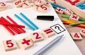 Educational Kids Math Toy Wooden Board Stick Game Counting Set In Kids Math Class Kindergarten. Math poster