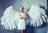 beautiful young model wearing a white dress with angel wings in the studio poster