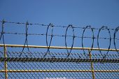 stock photo of nypd  - Barbed Wire Outside Rikers Island Prison New York City - JPG