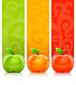 three coloured apples on decorative background - vector illustration