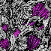 Vector Seamless Wave Doodle Hand Drawn Pattern Black And White With Purple Colors. Can Be Used For W poster