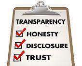Transparency Honesty Disclosure Trust Checklist 3d Illustration poster