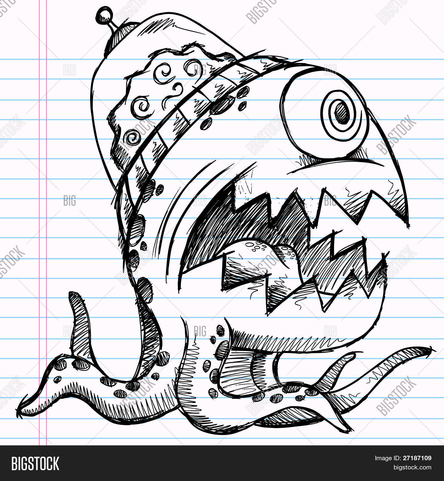 Notebook doodle sketch alien vector photo bigstock - Dessin extra terrestre ...