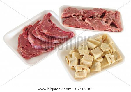 Meat packaging. Isolated