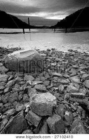 B&w Of Partly Frozen Lake.