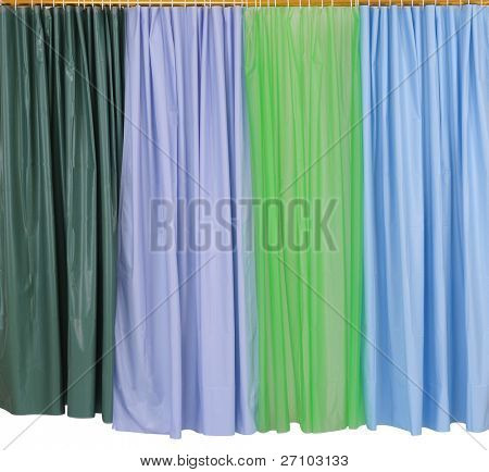 Shower curtains. Isolated