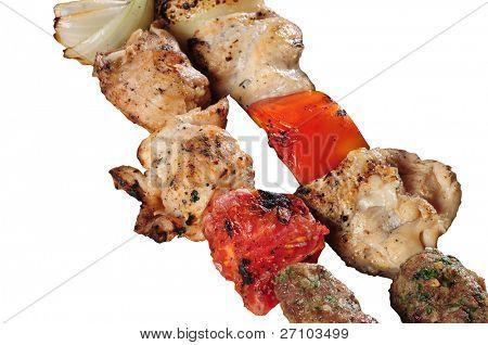 Shish kebab. Isolated