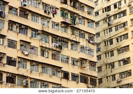 Old apartments in Hong Kong close up at day