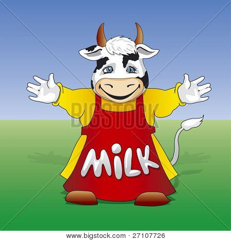 Cartoon Friendly Milk Cow  (Fully Editable Vector Image)
