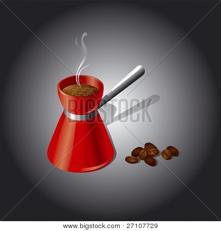Coffee Jar And Coffee Seeds  (Fully Editable Vector Image)