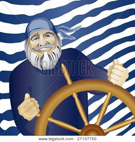 Sea Wolf Standing At The Wheel  (Fully Editable Vector Image)
