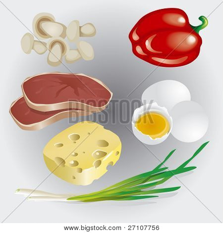 Group Of Food Products  (Fully Editable Vector Image)