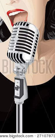 Jazz Singer (editable vector). In the gallery also available XXL jpeg image made from this vector