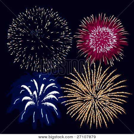 Fireworks (editable vector). In the gallery also available XXL jpeg image made from this vector