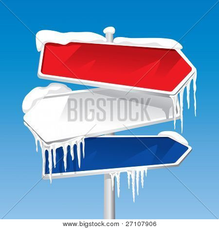 Frozen Signpost (also available vector version of this image in our gallery )