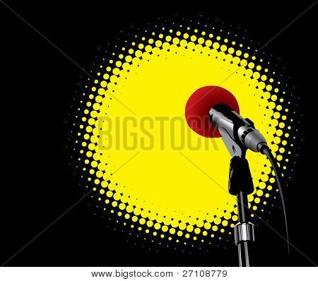 Microphone In Spotlight (vector). In the gallery also available XXL jpeg version of this image.