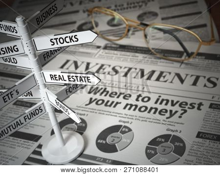 poster of Investmments and asset allocation concept. Where to Invest? Newspaper and direction sign with invest