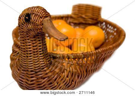 Mandarines On The Tray Like Goose Isolated