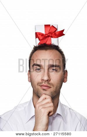 Man With A Gift On His Head