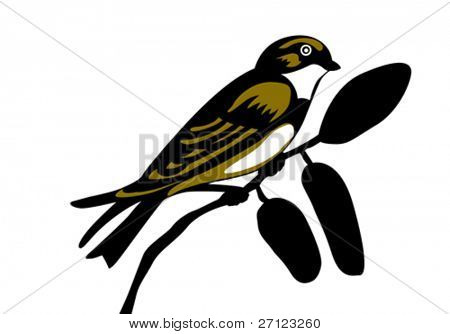 swallow silhouette on white background, vector illustration