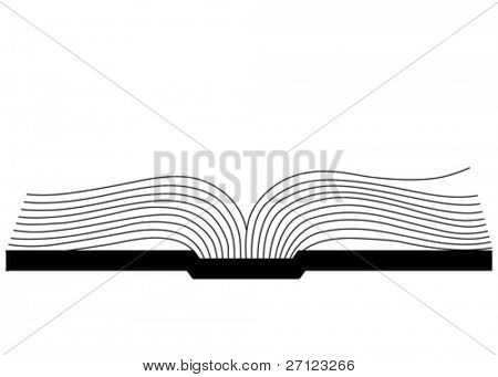 openning book silhouette on white background, vector illustration